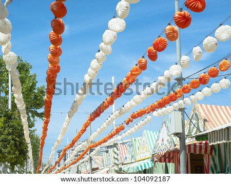 an agricultural fair and flamenco dance - stock photo