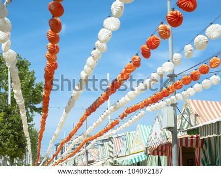 an agricultural fair and flamenco dance - stock photo