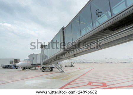 An airplane at the airport at Brussels, Belgium - stock photo