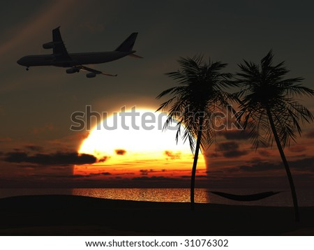 An airplane flying over a tropical beach at sunset. On the beach there are palm trees with a hammock between them. - stock photo