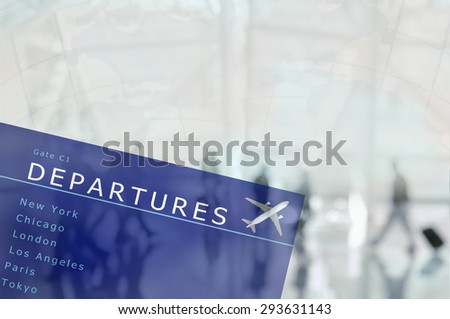 An airport departure board superimposed over an blurred airport scene with travellers and world map. The people are unrecognizable,  - stock photo