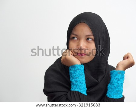 An alone girl in boredom or anxiety. - stock photo