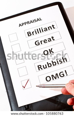 An alternative fun Performance Appraisal form - stock photo