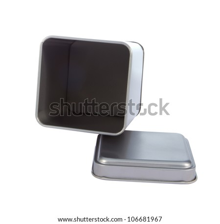 An aluminum Box top isolated against a white background - stock photo