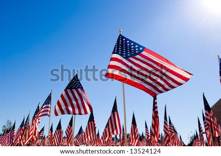 An Amercan Flag display for celebration of a National holiday like Fourth of July, Memorial Day, Veterans Day etc. - stock photo