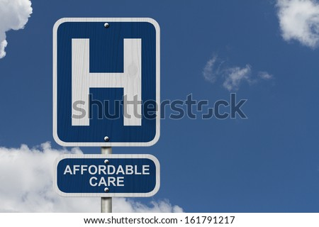 An American blue road sign with a sky background with a capital H and word Affordable Care, Hospital and Affordable Care - stock photo