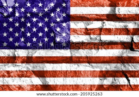 An American flag on a stone wall used as a wallpaper or background - stock photo