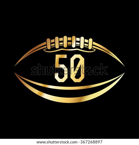 An american football emblem with the number 50. - stock photo