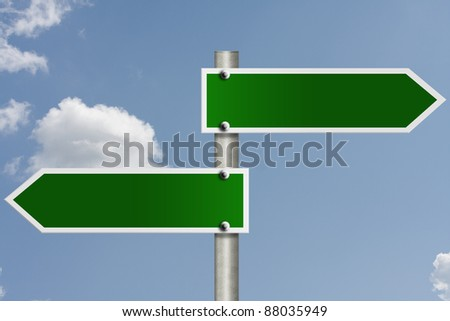 An American road sign with sky background and copy space for your message - stock photo