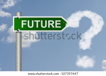 An American road signs word future with sky background and a cloud question mark, What is in your future - stock photo