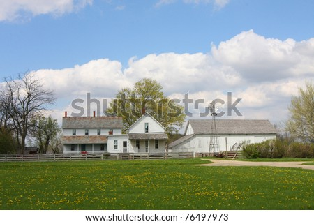 An Amish Farm House in the rural area of Indiana - stock photo
