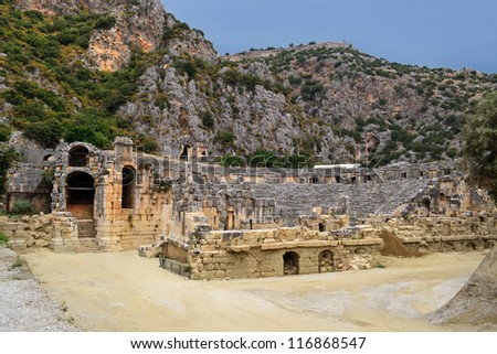 an ancient amphitheater in Myra (Demre) in Turkey - stock photo