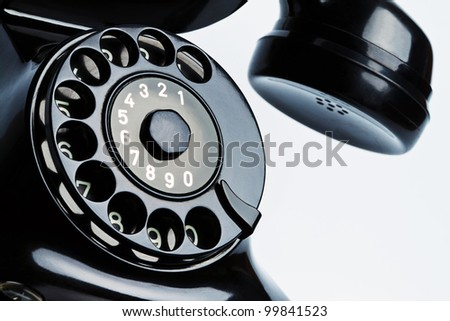 an ancient, antique telephone. isolated on white background, and released - stock photo