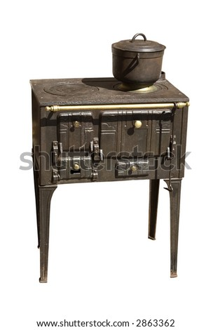 An ancient cast iron range cooker, isolated - stock photo