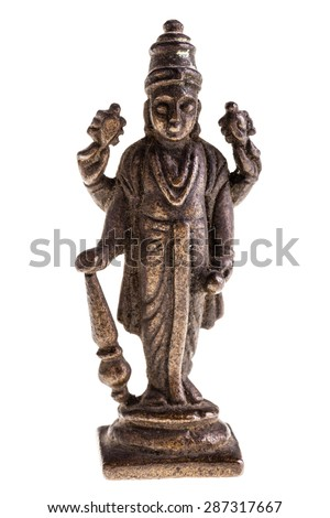 an ancient indian divinity statuette isolated over a white background - stock photo