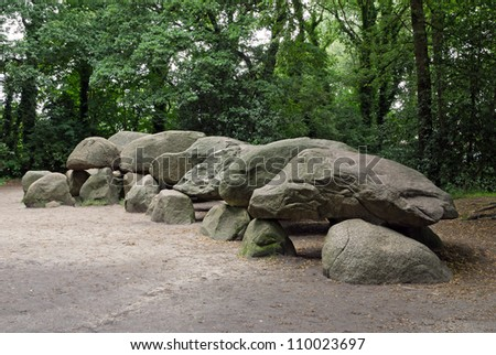 An ancient megalithic tomb in the Netherlands. - stock photo