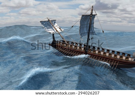 An ancient Roman warship at sea - 3d render with digital painting. - stock photo