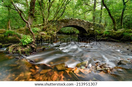 An ancient stone packhorse bridge crossing the River Bovey in Hisley Woods in east Dartmoor - stock photo