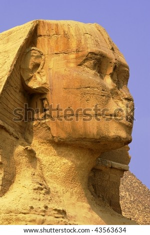 An ancient wonder of the world sphinx cairo egypt - stock photo