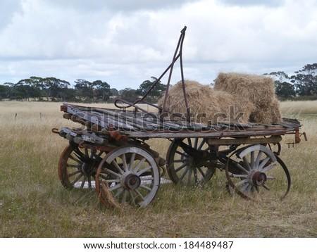 An ancient wooden cart on Kangaroo Island in Australia - stock photo