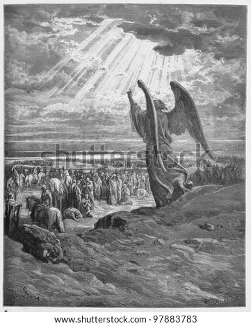An Angel appears to the Israelites - Picture from The Holy Scriptures, Old and New Testaments books collection published in 1885, Stuttgart-Germany. Drawings by Gustave Dore. - stock photo