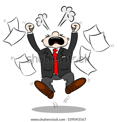 An angry cartoon businessman with blank paper flying around - stock photo