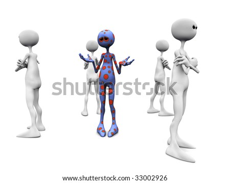 An angry group of white figures standing in a circle, turning their backs against an upset dotted figure in the middle. - stock photo