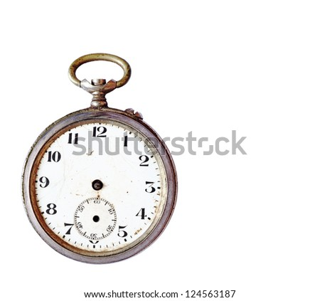 An antique brass watch with missing hand isolated against white. - stock photo