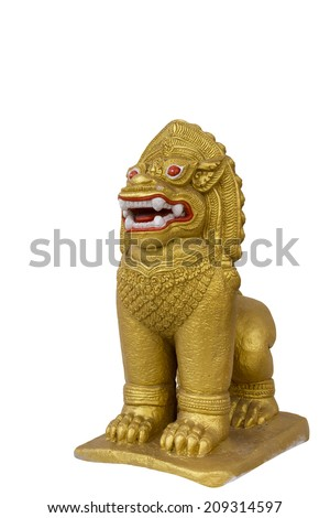 An antique guardian lion sculpture in a temple, thailand on white background - stock photo