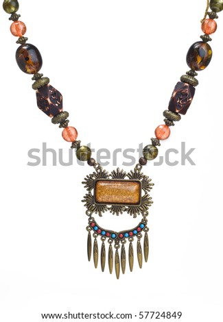 An antique, traditional vintage necklace. - stock photo