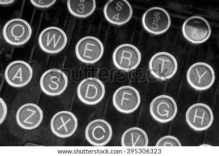 An Antique Typewriter Showing Traditional QWERTY Keys XII - stock photo
