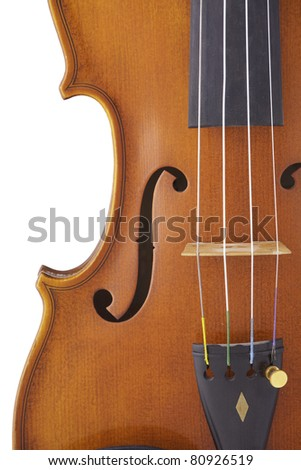 An antique violin viola isolated against a whit background. - stock photo