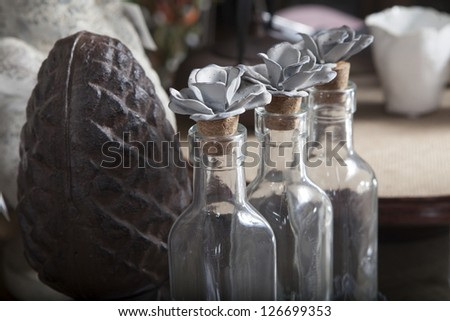 An antiques stall, at a Country Fair, but could be Antiques or Flea Market. - stock photo