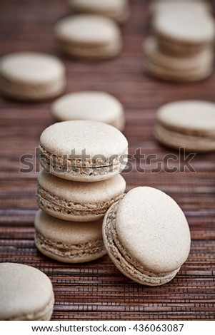 an appetizing heap of meringue cookies - stock photo