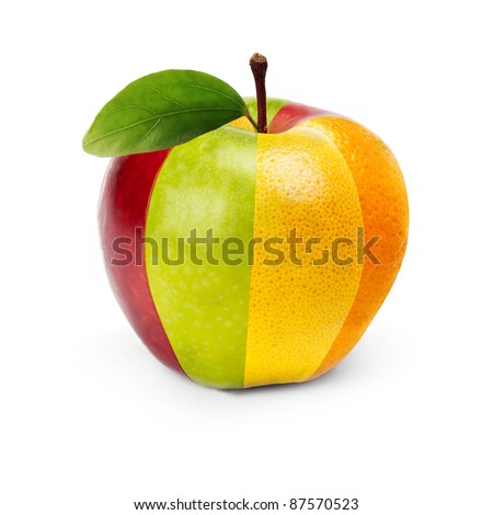 An Apple composed by several fruits - stock photo