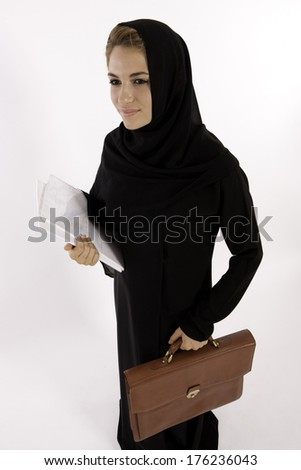 An Arab Teacher On Her Way To Class - stock photo