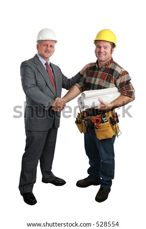 an architect congratulating a construction supervisor on a job well done - full  view, isolated - stock photo