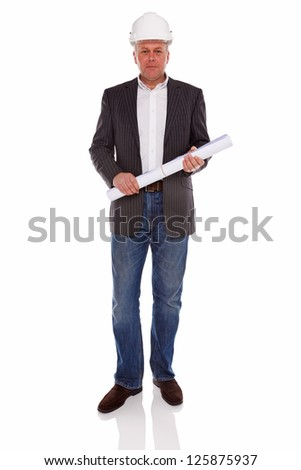 An architect or Surveyor wearing a jacket and jeans holding building plans and hard hat helmet, isolated on a white background. - stock photo