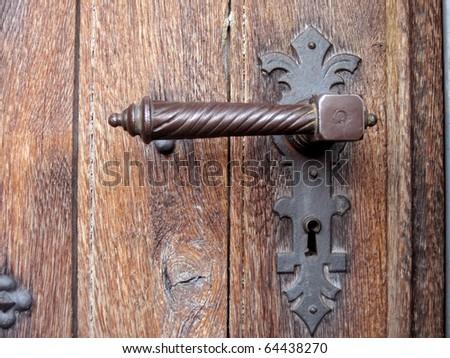 an architectural detail of a ruinous door - stock photo