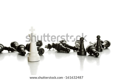An army of black and white chess pieces. Isolate - stock photo
