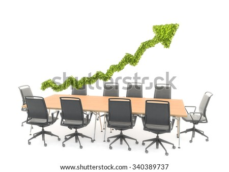 An arrow graph chart hovering over a conference table - presentation and strategy concept - stock photo