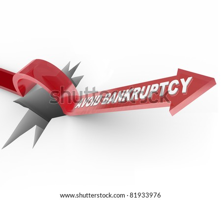 An arrow jumps over a hole, with the words Avoid Bankruptcy imploring you to beat the odds and overcome your budget challenges to remain financially successful and solvent - stock photo
