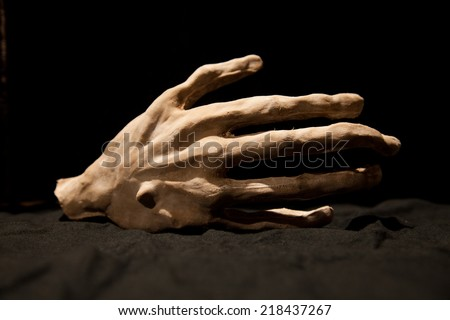 an artificial hand as a decoration or for theater - stock photo