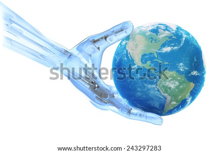An artificial limb holding a world globe- robotics and prosthetics technology concept - stock photo