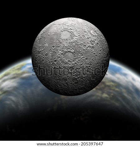 An artist's depiction of  a heavily cratered moon in orbit around it's home planet. Some elements courtesy of NASA. - stock photo