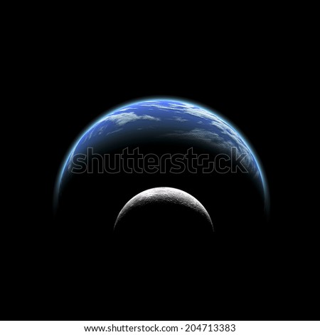 An artist's depiction of  a large planet covered by oceans with a thick atmosphere. It's companion moon orbits closely. A nearby star illuminates both the planet and the moon. - stock photo