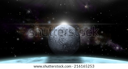 An artist's depiction of a stormy gas-giant planet with a lone moon coming over the horizon.  Elements of this image furnished by NASA. - stock photo