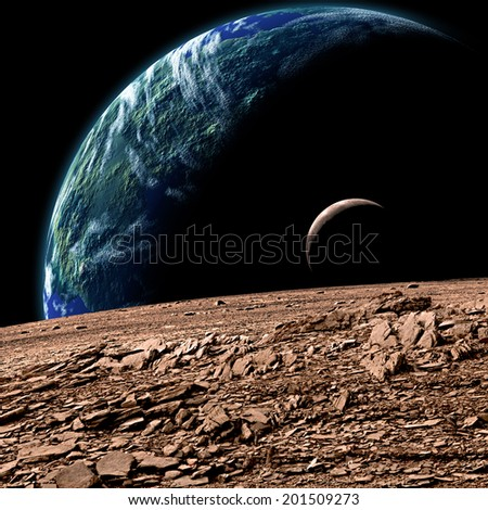 An artist's depiction of  an Earth like planet in deep space with an orbiting moon observed from the surface of a rocky sister moon. - stock photo