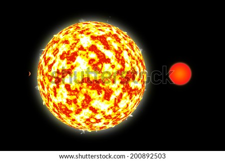 An artist's illustration of a binary star system with a close orbiting planet. A large class M star is joined by a red dwarf and planet. - stock photo