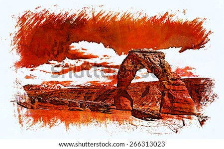 An artistic rendition of the Delicate Arch in Arches National Park, Utah. - stock photo